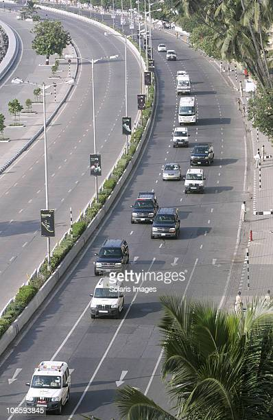 President Barack Obama's motorcade proceeds through the streets of Mumbai following his arrival for the start of his Asia tour on November 6 2010 in...