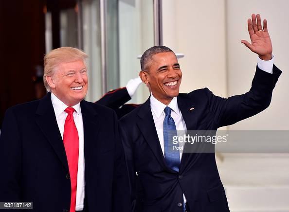 President Barak Obama and Presidentelect Donald Trump smile at the White House before the inauguration on January 20 2017 in Washington DC Trump...