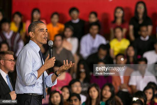 President Barak Obama speaks to students during a Young Southeast Asian Leaders Initiative Town Hall meeting on November 14 2014 in Yangon Burma...