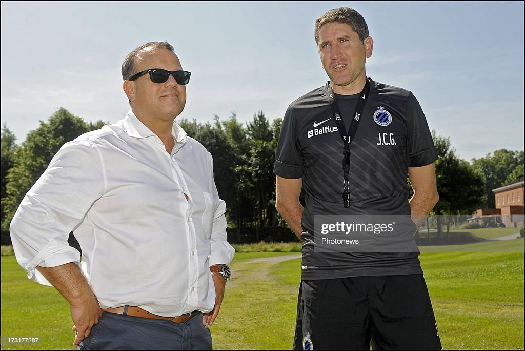 President Bart Verhaeghe of Club Brugge KV and head coach Juan Carlos Garrido during the second day of a Club Brugge summer camp training session on July 9, 2013 in Manchester, England.