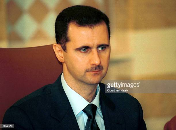 President Bashar Al Assad meets with Lebanese leaders March 3 2002 at the Lebanese presidential palace outside Beirut Lebanon It is the first visit...