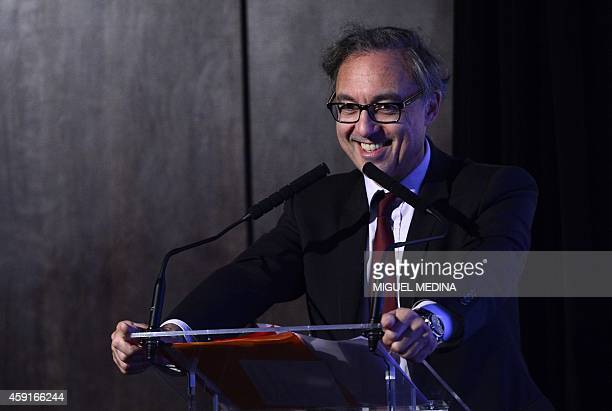 AFA president Bernard Spitz gives a press conference to present the new 'econstat' application for smartphones in Paris on November 182014 AFP PHOTO...