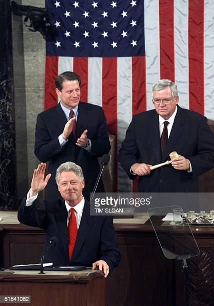 President Bill Clinton addresses a joint session of Congress during his final State of the Union address 27 January 2000 at the US Capital in...