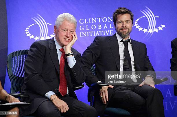 President Bill Clinton and Actor Brad Pitt attend the 2009 Clinton Global Initiative Special Session Building A Better Future A Progress Report on...