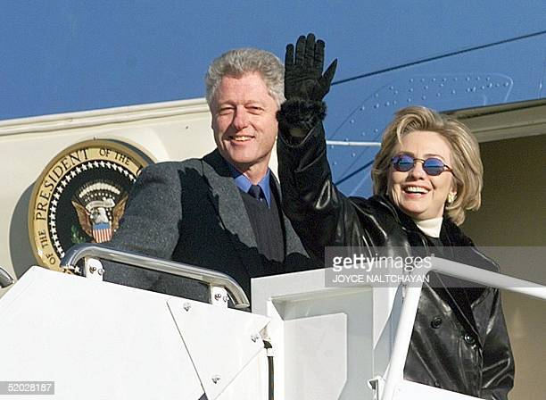 President Bill Clinton and First Lady Hillary Rodham Clinton depart Andrews Air Force Base MD for a three day family vacation in Hilton Head SC with...