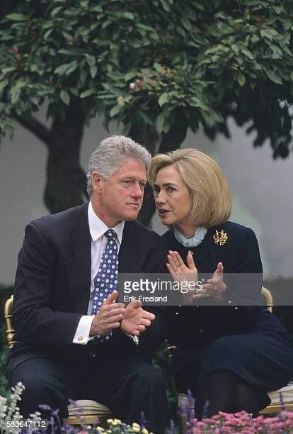 President Bill Clinton and First Lady Hillary Rodham Clinton in the Rose Garden of the White House