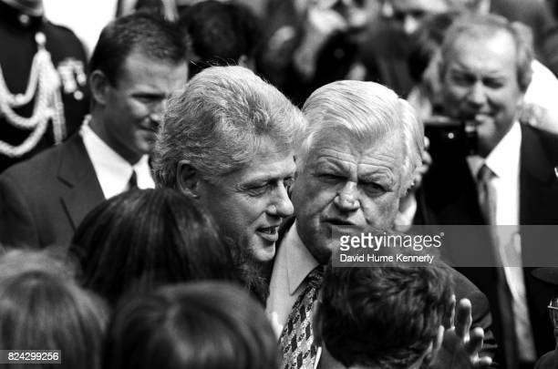 President Bill Clinton and Senator Ted Kennedy at the ceremony on the South Lawn of the White House signing legislation to raise the minimum wage...