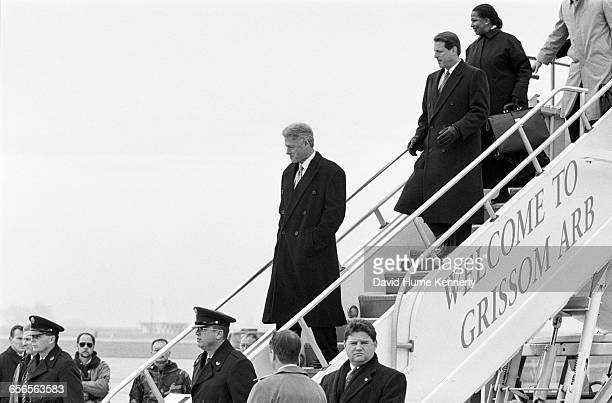 S President Bill Clinton and Vice President Al Gore get off Air Force One on the campaign trail at Grissom Air Reserve Base in Indiana in 1996