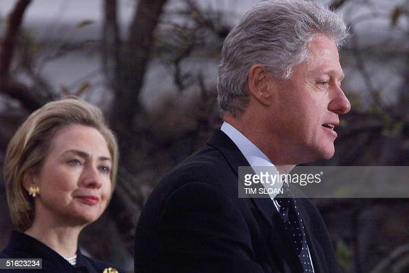 President Bill Clinton appears with First Lady Hillary Clinton to make a statement to reporters outside the oval office following his impeachment by...