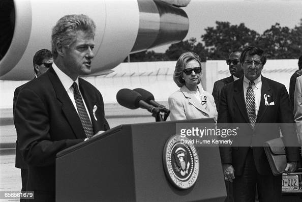 President Bill Clinton at JFK International Airport during a press conference regarding the crash of TWA Flight 800 on July 26 1996 The crash off the...