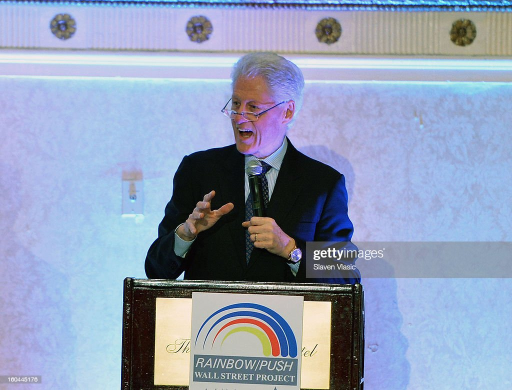 U.S. President Bill Clinton attends the 16th Annual Wall Street Project 'Access To Captial' luncheon at The Roosevelt Hotel on January 31, 2013 in New York City.