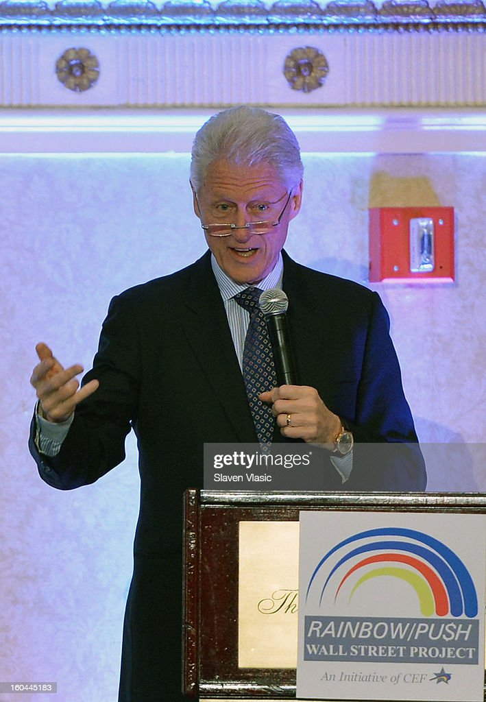 U.S. President <a gi-track='captionPersonalityLinkClicked' href=/galleries/search?phrase=Bill+Clinton&family=editorial&specificpeople=67203 ng-click='$event.stopPropagation()'>Bill Clinton</a> attends the 16th Annual Wall Street Project 'Access To Captial' luncheon at The Roosevelt Hotel on January 31, 2013 in New York City.