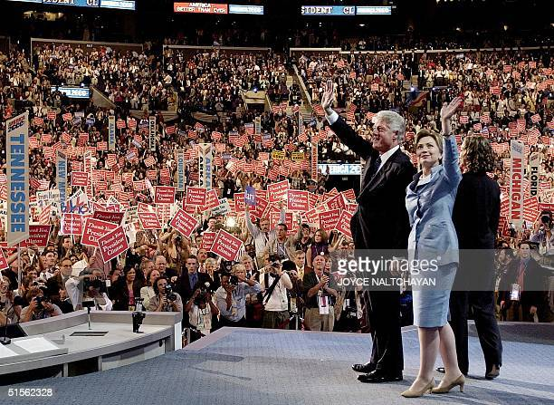 President Bill Clinton First Lady Hillary and their daughter Chelsea wave after President Clinton delivered his address to the the Democratic...