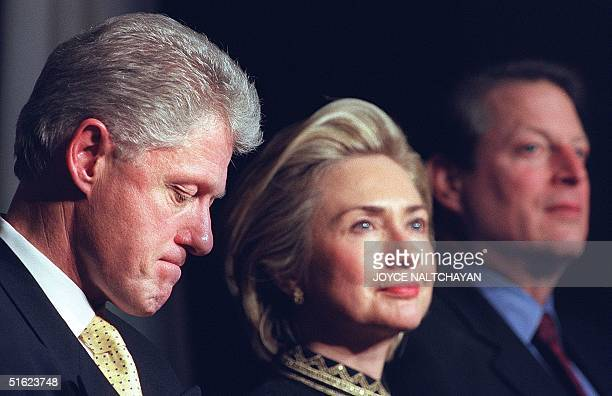 President Bill Clinton First Lady Hillary and Vice President Al Gore listen to speeches at a Democratic National Committee dinner 15 January in...