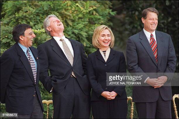 President Bill Clinton in picture taken 06 November1996 at the White House in Washington DC laughs with his chief of staff Leon Panetta First Lady...