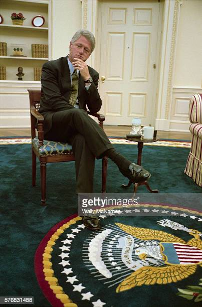 President Bill Clinton in the Oval Office during an interview with a reporter from Newsweek Magazine
