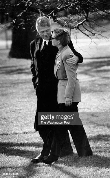 President Bill Clinton is escorted by Hillary to a waiting helicopter The president was leaving for Arkansas after learning of the death of his mother