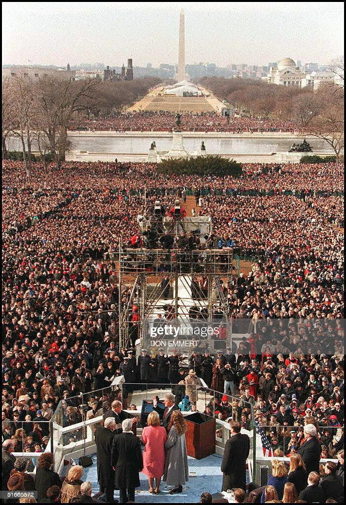 President Bill Clinton is sworn in 20 January on Capitol Hill in Washington DC for his second term as US president The ceremonies mark the 53rd...