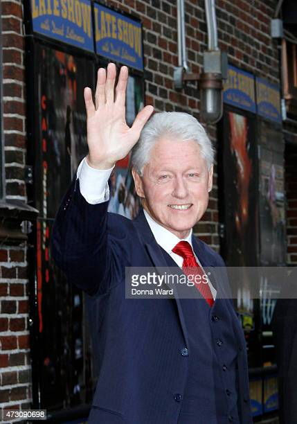 President Bill Clinton leaves the 'Late Show with David Letterman' at the Ed Sullivan Theater on May 12 2015 in New York City