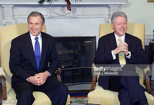 President BIll Clinton meets with Presidentelect George W Bush 19 December 2000 at the White House in Washington DC for discussions on the transition...