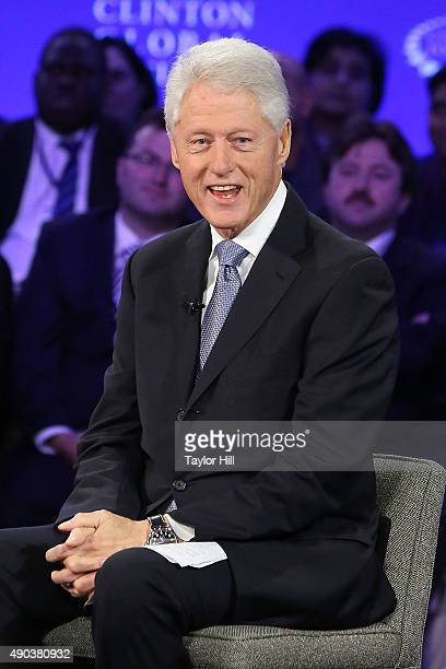 President Bill Clinton poses for a photo during the 2015 Clinton Global Initiative Annual Meeting at Sheraton Times Square on September 27 2015 in...