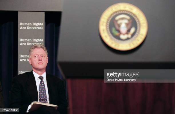 President Bill Clinton speaks at a ceremony for the 50th anniversary of the adoption of the Universal Declaration of Human Rights in the old...