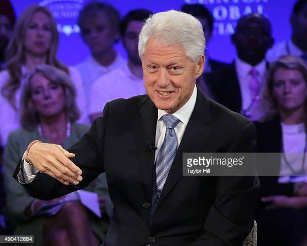 President Bill Clinton speaks during the 2015 Clinton Global Initiative Annual Meeting at Sheraton Times Square on September 27 2015 in New York City