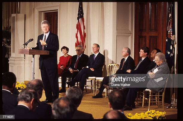 President Bill Clinton speaks in support of the North American Free Trade Agreement November 1 1993 in Washington DC NAFTA is an accord establishing...
