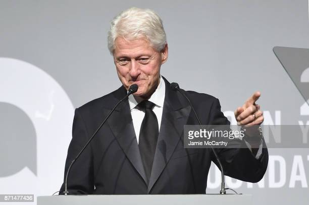 President Bill Clinton speaks onstage at the Elton John AIDS Foundation Commemorates Its 25th Year And Honors Founder Sir Elton John During New York...