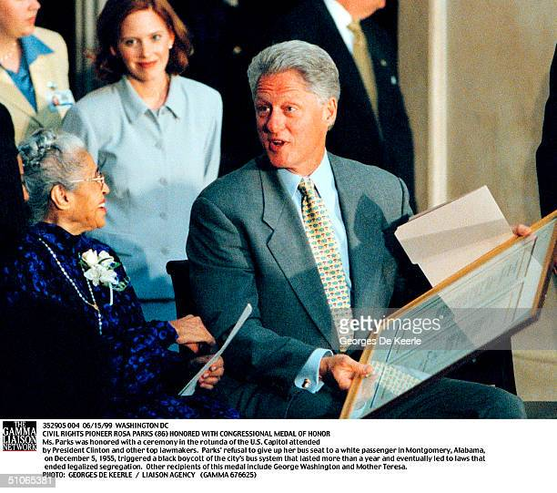 President Bill Clinton Speaks With Civil Rights Legend Rosa Parks During A Ceremony In The Capitol Rotunda Mrs Parks Was Awarded The Congressional...