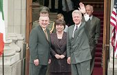 President Bill Clinton with Taoiseach Bertie Ahern and Tanaiste Mary Harney during the Presidents visit to Ireland