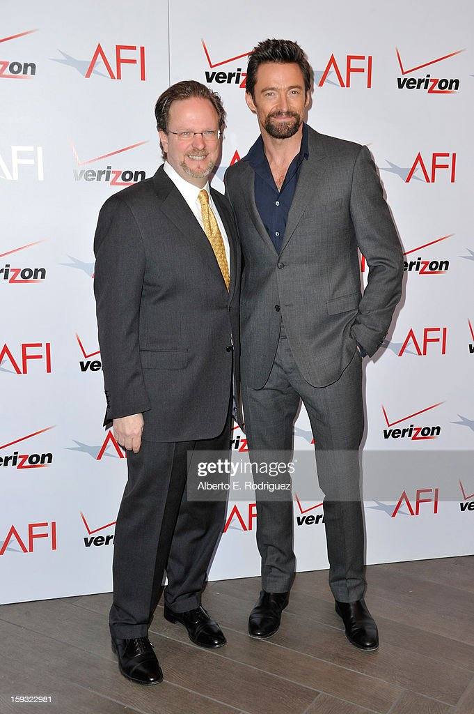 AFI president Bob Gazzale (L) and actor Hugh Jackman attend the 13th Annual AFI Awards at Four Seasons Los Angeles at Beverly Hills on January 11, 2013 in Beverly Hills, California.