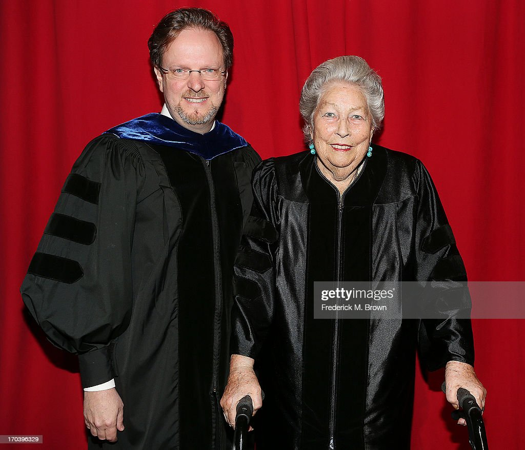 AFI President Bob Gazzale (L) and film editor Anne V. Coates attend the 2013 AFI Conservatory Commencement Ceremony at the El Capitan Theatre on June 12, 2013 in Hollywood, California.