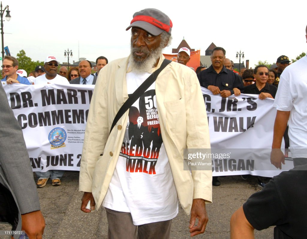 UAW president Bob King Detroit NAACP President Wendell Anthony Reverend Martin Luther King Jr's son Martin Luther King III comedian and activist Dick...