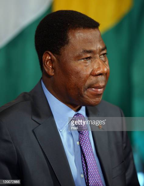 President Boni Yayi of Benin sits during meeting with US President Barack Obama and other African leaders in the Cabinet Room of the White House July...