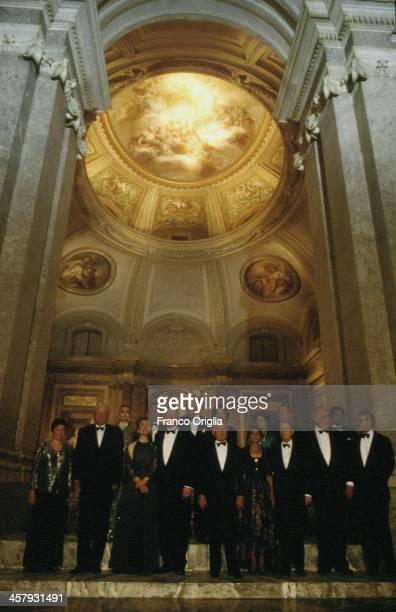 President Boris Yeltsin of Russia and his wife Naina Yeltsin Italian Prime Minister Silvio Berlusconi and his Second wife Veronica Lario 42nd...