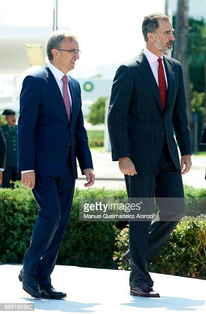 President BP Spain Luis Aires and King Felipe VI of Spain attend 50th Anniversary Of BP Refinery at Castellon BP Refinery on June 21 2017 in...