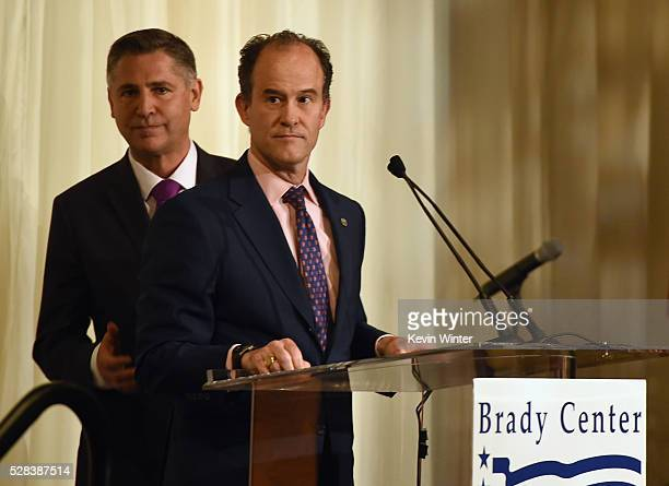 President Brady Campaign to Prevent Gun Violence Dan Gross and Board chair Kevin Quinn speak onstage at the 2016 Los Angeles Brady Bear Awards Gala...