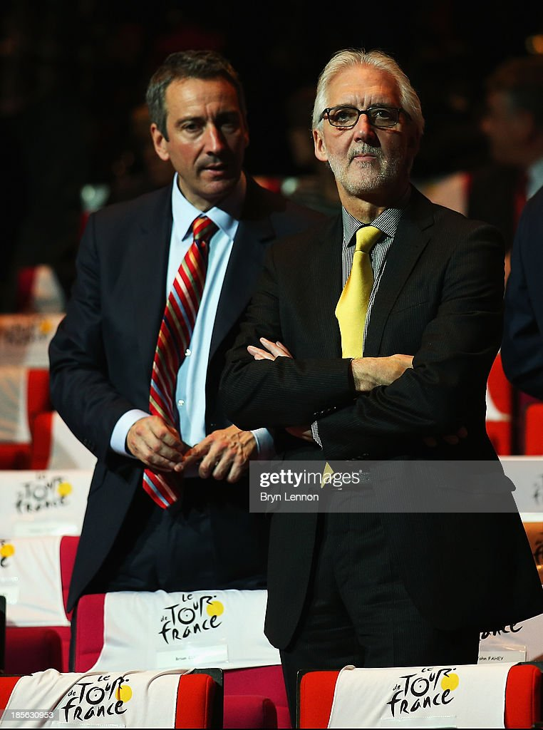 UCI President <a gi-track='captionPersonalityLinkClicked' href=/galleries/search?phrase=Brian+Cookson&family=editorial&specificpeople=8909757 ng-click='$event.stopPropagation()'>Brian Cookson</a> (R) and his chief of staff Martin Gibbs attend the route presentation of 2014 Tour de France at the Palais des Congres de Paris on October 23, 2013 in Paris, France. The 101st edition of the Tour de France will start with 3 stages in England.