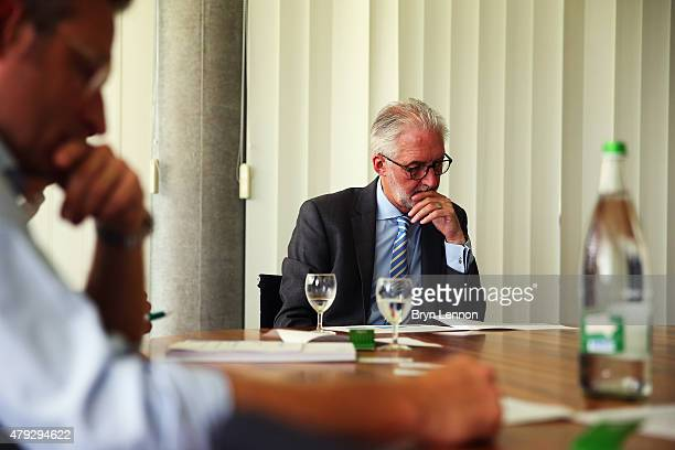 UCI President Brian Cookson attends meetings at the UCI Headquarters in Aigle on June 22 2015 in Aigle