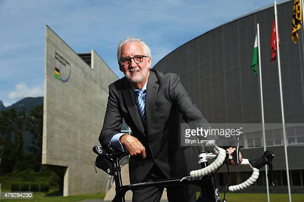President Brian Cookson poses for a photo at the UCI Headquarters in Aigle on June 22 2015 in Aigle