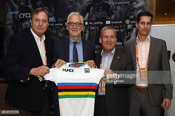 President Brian Cookson poses with British Cycling President Bob Howden as Yorkshire are announced as hosts of the 2019 UCI Road World Championships...