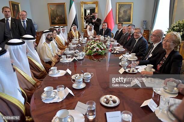 President Bronislaw Komorowski meets Mohammed bin Rashid AlMaktoum the Vice President and Prime Minister of the United Arab Emirates and emir of...
