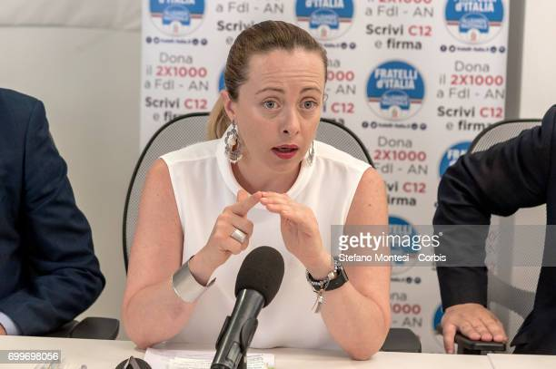 President Brothers of Italy National Alliance Giorgia Meloni speaks during the press conference to contest the one year of results of the...