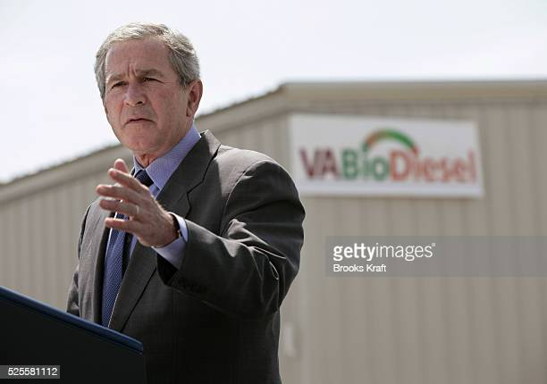President Bush speaks at the Virginia BioDiesel Refinery Monday May 16 in West Point Va Bush flew to West Point to visit the production plant for...