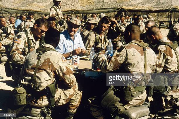 President Bush visiting American troops during Operation Desert Storm