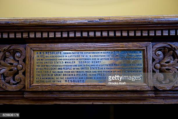 President Bush's Resolute desk in the Oval Office when empty at the White House The desk was made from the timbers of HMS Resolute an abandoned...