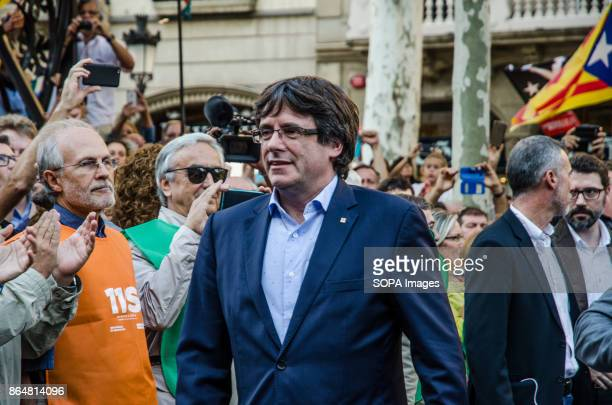 President Carles Puigdemont arrives to the rally of Paseo de Gracia About 450000 people have been focused to support the Government and the Catalan...