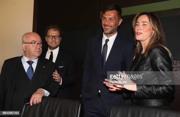FIGC President Carlo Tavecchio Italian Sport Minister Luca Lotti AC Milan former player Paolo Maldini and Government Undersecretary Elena Boschi...