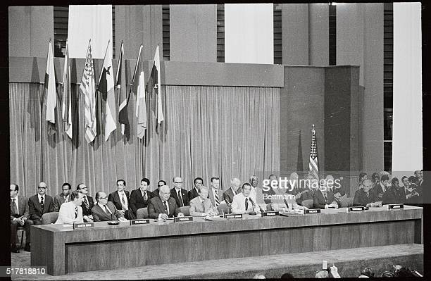 President Carter and leaders of five Latin American countries listen here to Panama's military leader speak after the signing of the ratified Panama...